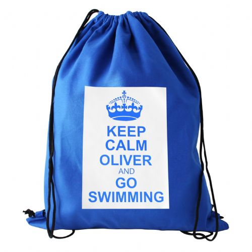 Personalised Blue Keep Calm Swim Bag